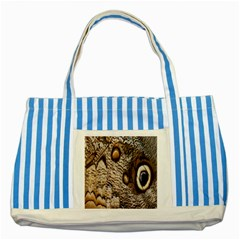 Butterfly Wing Detail Striped Blue Tote Bag by Nexatart