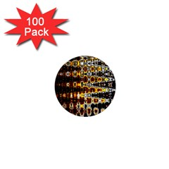 Bright Yellow And Black Abstract 1  Mini Buttons (100 Pack)