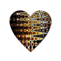 Bright Yellow And Black Abstract Heart Magnet by Nexatart