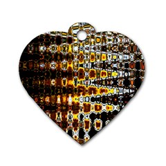 Bright Yellow And Black Abstract Dog Tag Heart (one Side) by Nexatart