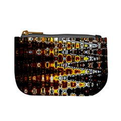 Bright Yellow And Black Abstract Mini Coin Purses by Nexatart