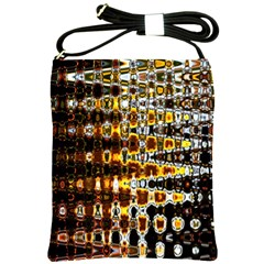 Bright Yellow And Black Abstract Shoulder Sling Bags by Nexatart