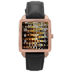 Bright Yellow And Black Abstract Rose Gold Leather Watch  by Nexatart