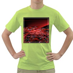 Red Fractal Valley In 3d Glass Frame Green T Shirt