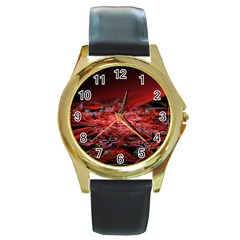 Red Fractal Valley In 3d Glass Frame Round Gold Metal Watch