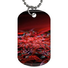 Red Fractal Valley In 3d Glass Frame Dog Tag (two Sides) by Nexatart