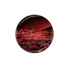 Red Fractal Valley In 3d Glass Frame Hat Clip Ball Marker (10 Pack) by Nexatart