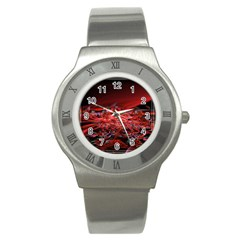 Red Fractal Valley In 3d Glass Frame Stainless Steel Watch
