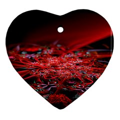Red Fractal Valley In 3d Glass Frame Heart Ornament (two Sides) by Nexatart