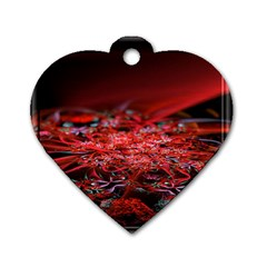 Red Fractal Valley In 3d Glass Frame Dog Tag Heart (two Sides) by Nexatart