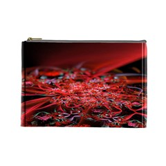 Red Fractal Valley In 3d Glass Frame Cosmetic Bag (large)