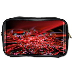 Red Fractal Valley In 3d Glass Frame Toiletries Bags 2 Side