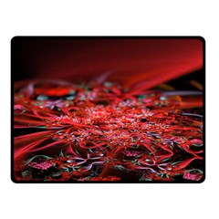 Red Fractal Valley In 3d Glass Frame Fleece Blanket (small)