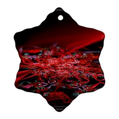 Red Fractal Valley In 3d Glass Frame Snowflake Ornament (two Sides)