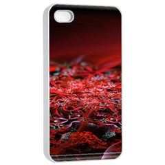 Red Fractal Valley In 3d Glass Frame Apple Iphone 4/4s Seamless Case (white)