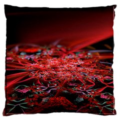 Red Fractal Valley In 3d Glass Frame Large Cushion Case (two Sides)