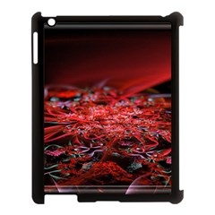 Red Fractal Valley In 3d Glass Frame Apple Ipad 3/4 Case (black) by Nexatart
