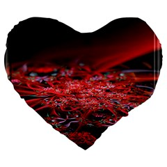 Red Fractal Valley In 3d Glass Frame Large 19  Premium Heart Shape Cushions by Nexatart