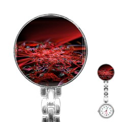 Red Fractal Valley In 3d Glass Frame Stainless Steel Nurses Watch