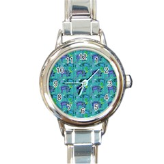 Elephants Animals Pattern Round Italian Charm Watch