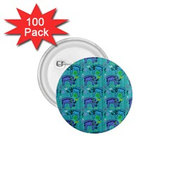 Elephants Animals Pattern 1 75  Buttons (100 Pack)