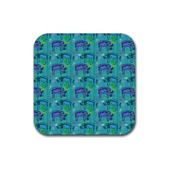 Elephants Animals Pattern Rubber Square Coaster (4 Pack)  by Nexatart