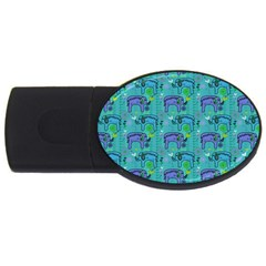 Elephants Animals Pattern Usb Flash Drive Oval (2 Gb) by Nexatart