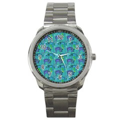 Elephants Animals Pattern Sport Metal Watch by Nexatart