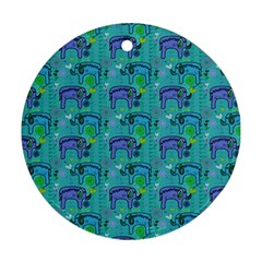 Elephants Animals Pattern Round Ornament (two Sides)