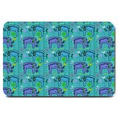 Elephants Animals Pattern Large Doormat