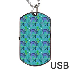 Elephants Animals Pattern Dog Tag Usb Flash (one Side)
