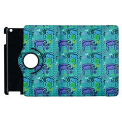 Elephants Animals Pattern Apple Ipad 2 Flip 360 Case by Nexatart
