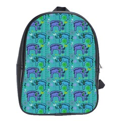 Elephants Animals Pattern School Bags (xl)  by Nexatart