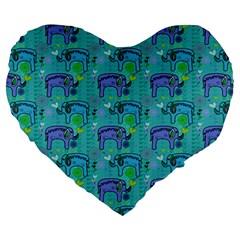 Elephants Animals Pattern Large 19  Premium Heart Shape Cushions