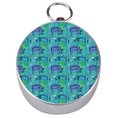 Elephants Animals Pattern Silver Compasses