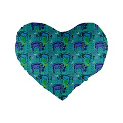 Elephants Animals Pattern Standard 16  Premium Flano Heart Shape Cushions by Nexatart