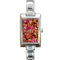 Floral Pattern Background Seamless Rectangle Italian Charm Watch by Nexatart