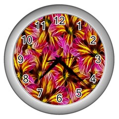 Floral Pattern Background Seamless Wall Clocks (silver)  by Nexatart