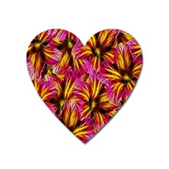 Floral Pattern Background Seamless Heart Magnet by Nexatart