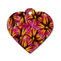 Floral Pattern Background Seamless Dog Tag Heart (one Side) by Nexatart