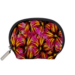 Floral Pattern Background Seamless Accessory Pouches (small)