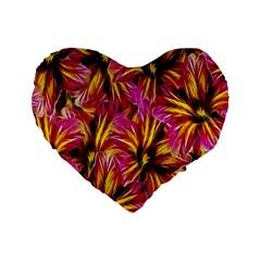 Floral Pattern Background Seamless Standard 16  Premium Flano Heart Shape Cushions