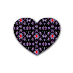 Digital Computer Graphic Seamless Wallpaper Rubber Coaster (heart)  by Nexatart
