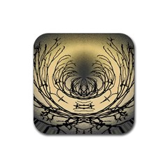 Atmospheric Black Branches Abstract Rubber Coaster (square)