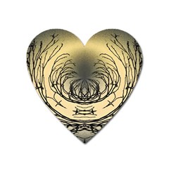 Atmospheric Black Branches Abstract Heart Magnet by Nexatart