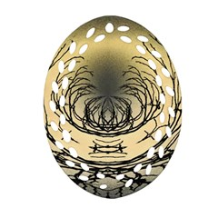 Atmospheric Black Branches Abstract Ornament (oval Filigree)