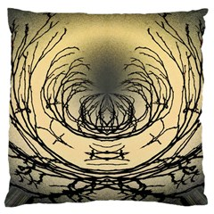 Atmospheric Black Branches Abstract Large Cushion Case (Two Sides)