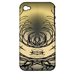 Atmospheric Black Branches Abstract Apple Iphone 4/4s Hardshell Case (pc+silicone)