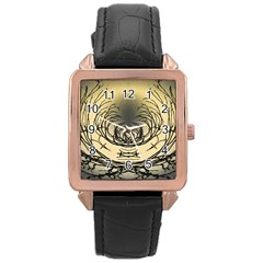 Atmospheric Black Branches Abstract Rose Gold Leather Watch