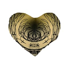 Atmospheric Black Branches Abstract Standard 16  Premium Flano Heart Shape Cushions by Nexatart